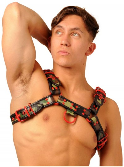 Fist Leather Chest Harness • Camo - Red