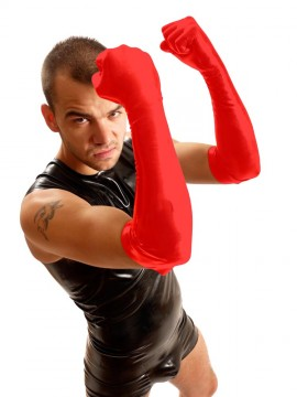 Elbow Rubber Gloves • Red