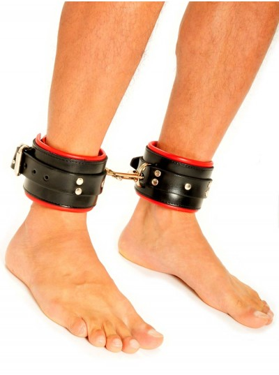 Fist Leather Ankle Cuffs • Black/Red
