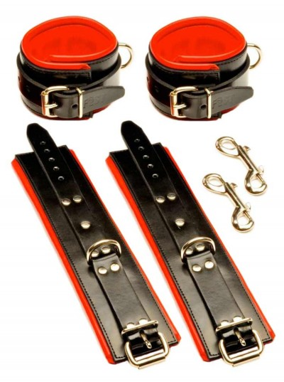 Fist Leather Wrist + Ankle Set • Black/Red